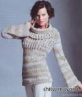 Пуловер с круглым воротником, связанный спицами. Описание бесплатно