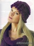 Фиолетовая шапочка, связанная спицами. Описание и схемы бесплатно