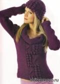Фиолетовый пуловер, связанный спицами. Описание и схемы бесплатно - 1