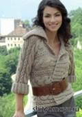 Жакет с горизонтальными косами, связанный спицами. Бесплатное описание