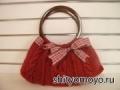 Красная сумка, связанная спицами. Описание бесплатно