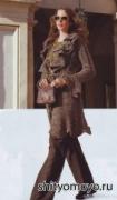 Меланжевое пальто, связанное спицами. Описание и схемы бесплатно
