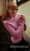 Розовый жакет, связанный спицами. Описание и схемы бесплатно