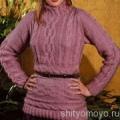 Розовая туника с косами, связанная спицами. Описание и схемы бесплатно