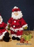 Новогодние поделки своими руками: Дед Мороз, связанный спицами и крючком. Описание и схемы бесплатно
