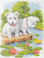 Наборы для вышивания(канва с рис.+мулине) 20х25 см, Песики, арт Ф-24