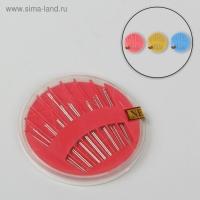 Иглы швейные в пластиковой коробочке, 16 игл, цвет МИКС