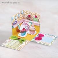 Коробочка с пожеланиями Пирожное, 3 листа с элементами+декор