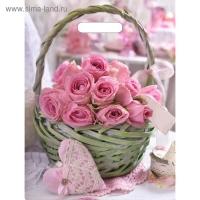 Пакет Корзина роз, полиэтиленовый с вырубной ручкой, 40 х 31 см, 60 мкм
