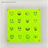 Светоотражающие наклейки Смайлы, d = 2 см, 16 шт на листе, цвет жёлтый