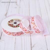 Лента декоративная Цветы, 25 мм, №1 розовый, 1 м