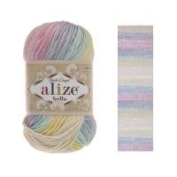 Пряжа Ализе Белла Батик (6785 молочный-желтый-розовый-голубой)