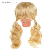 Волосы для кукол Кудряши в хвостиках с челкой размер большой, цвет Р02