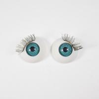 Глазки TR-22 круглые с ресничками 22 мм голубые (О1), 1 шт