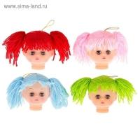 Голова с текстильными волосами для изготовления куклы, цвета МИКС, 1 шт