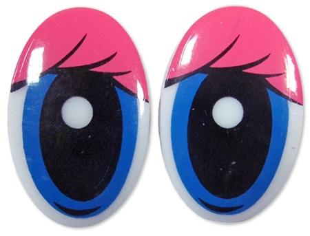Глазки винтовые овал с ресницами 30х19мм, розов/бел., 1 шт
