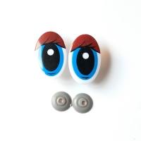 Глазки винтовые овал с ресницами 47х30 мм синий-коричневый, 1 шт