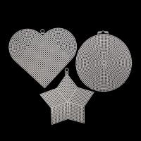 Канва пластиковая Bestex круг, сердце, звезда 15 х 13 см, 1 шт