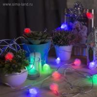 Гирлянда Нить с насадками Ежики, 5 м, LED-20-220V, мигает, нить прозрачная, свечение мульти  (RG/RB)
