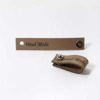Кожаная бирка с кнопкой Handmade (капучино)