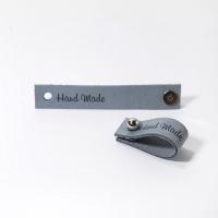 Кожаная бирка с кнопкой Handmade (светло-серая)
