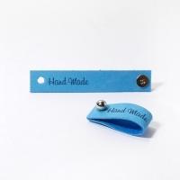 Кожаная бирка с кнопкой Handmade (ярко-голубая)