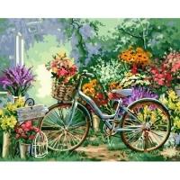 Альбом картины по номерам (склад Ростов-на-Дону) 40х50 см в ассортименте (GX 4663 Велосипед в саду)