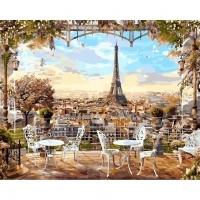Альбом картины по номерам (склад Ростов-на-Дону) 40х50 см в ассортименте (GX 8876 Кафе с видом на Эйфелеву башню)