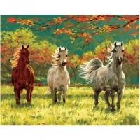 Альбом картины по номерам (склад Ростов-на-Дону) 40х50 см в ассортименте (GX 34226 Тройка лошадей на солнечной поляне)