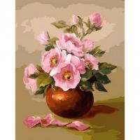 Альбом картины по номерам (склад Ростов-на-Дону) 40х50 см в ассортименте (PK 33086 Розовые цветы)
