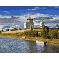 Альбом картины по номерам (склад Ростов-на-Дону) 40х50 см в ассортименте (GX 32943 Монастырь на берегу реки)