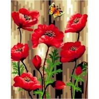 Альбом картины по номерам (склад Ростов-на-Дону) 40х50 см в ассортименте (GX32085 Маки и бабочки)