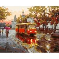Альбом картины по номерам (склад Ростов-на-Дону) 40х50 см в ассортименте (GX 31999 Трамвай под дождем)