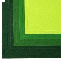 Фетр листовой IDEAL 1мм 20*30см, в ассортименте, 1 шт (зеленый ассорти)