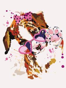 Картина по номерам  Щенок в розовых очках