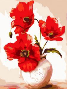 Картина по номерам EX5877 Большие маки в вазе