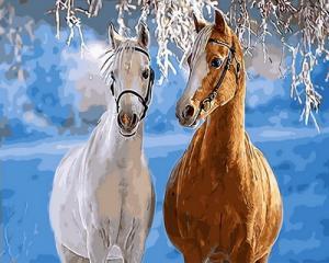 Картина по номерам GX31608 Парочка лошадей
