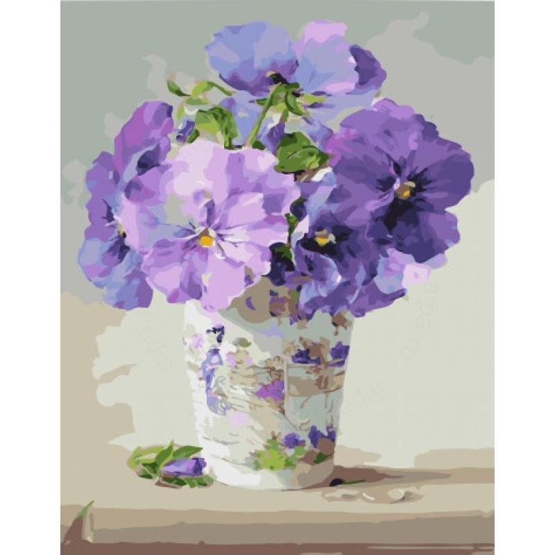 Картина по номерам PK 45083 Кашпо с цветами 40*50