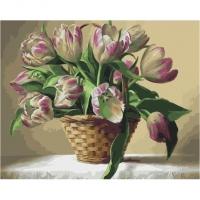 Картина по номерам GX 34018 Корзина тюльпанов 40*50