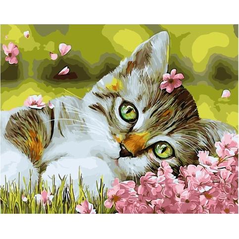 Картина по номерам GX 34634 Котенок в цветочках 40*50