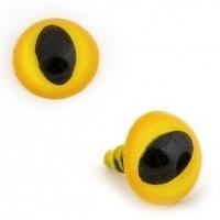 Глазки винтовые в ассортименте 14 мм с фиксатором, кошачий глаз (желтые)
