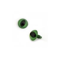 Глазки винтовые в ассортименте 14 мм с фиксатором, кошачий глаз (зеленые)