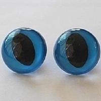 Глазки винтовые в ассортименте 14 мм с фиксатором, кошачий глаз (синие)