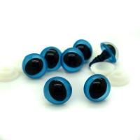 Глазки винтовые 16 мм с фиксатором кошачий глаз синие