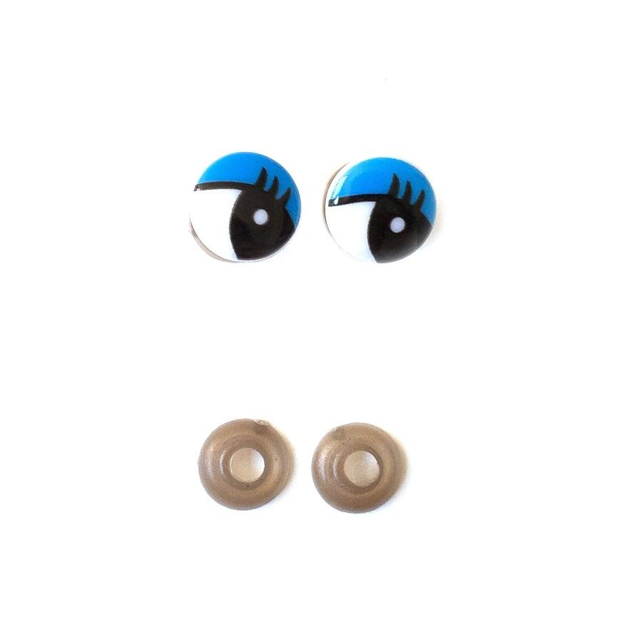 Глазки винтовые 18 мм с фиксатором синий-белый