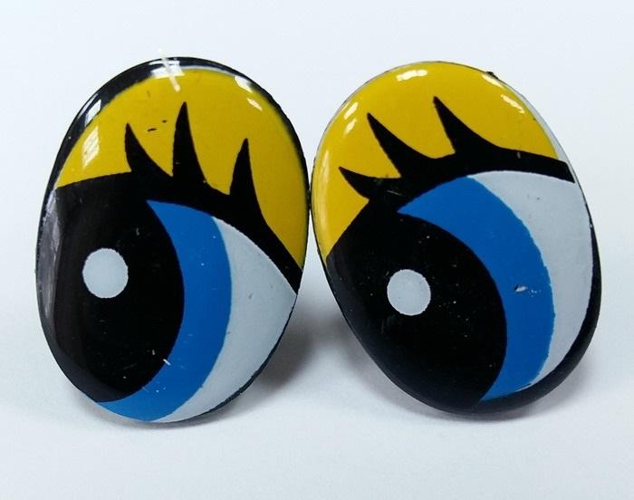 Глазки винтовые овал с ресницами 25х19 мм желтый-синий-черный 250-190