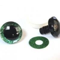 Глазки винтовые 25 мм в ассортименте с искоркой (зеленые)