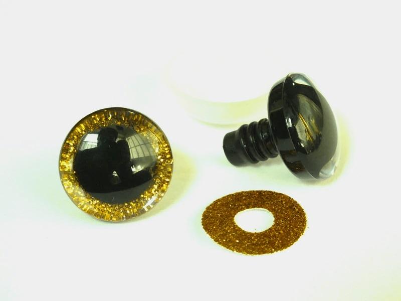 Глазки винтовые 25 мм в ассортименте с искоркой