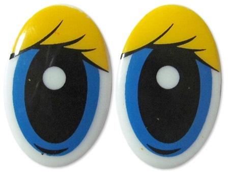 Глазки винтовые овал с ресницами 30х19мм, желтый/голубой, 1 шт