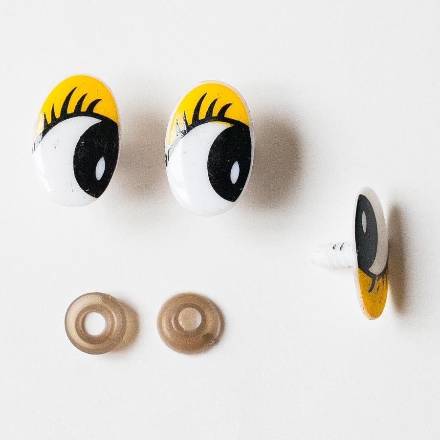Глазки винтовые овал с ресницами 29х19 мм желтый-белый, 1 шт